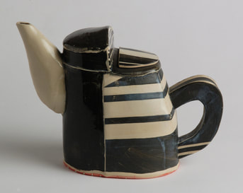 black and white teapot