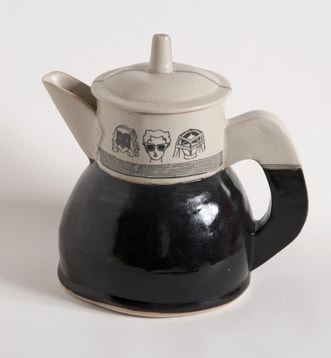 black white women teapot