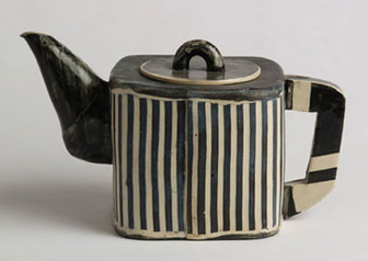 black white striped teapot